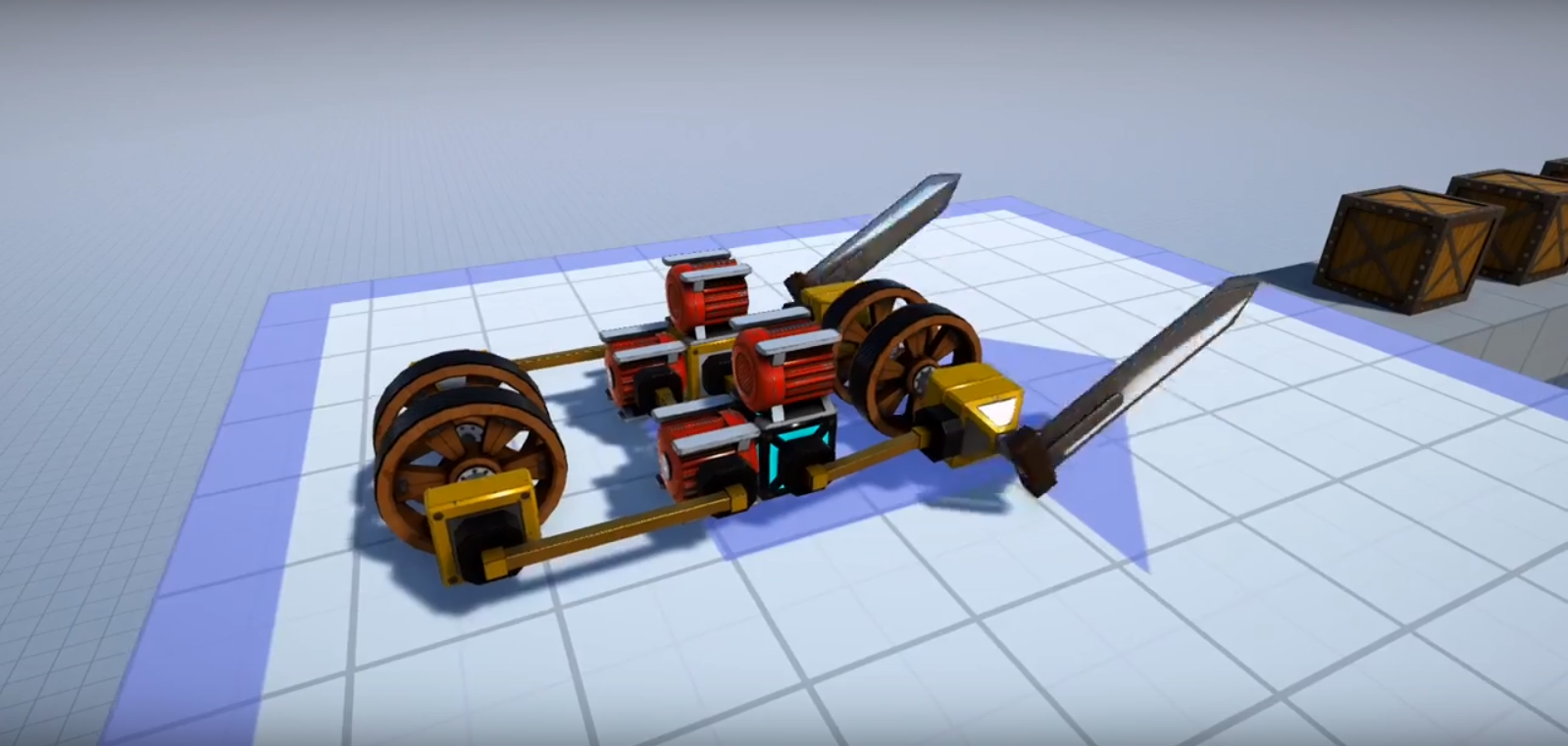 Puzzles and parts in Contraptions Parkour trailer