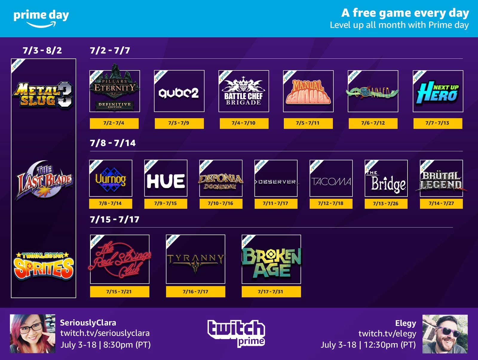 Twitch Prime users get a full month of free games