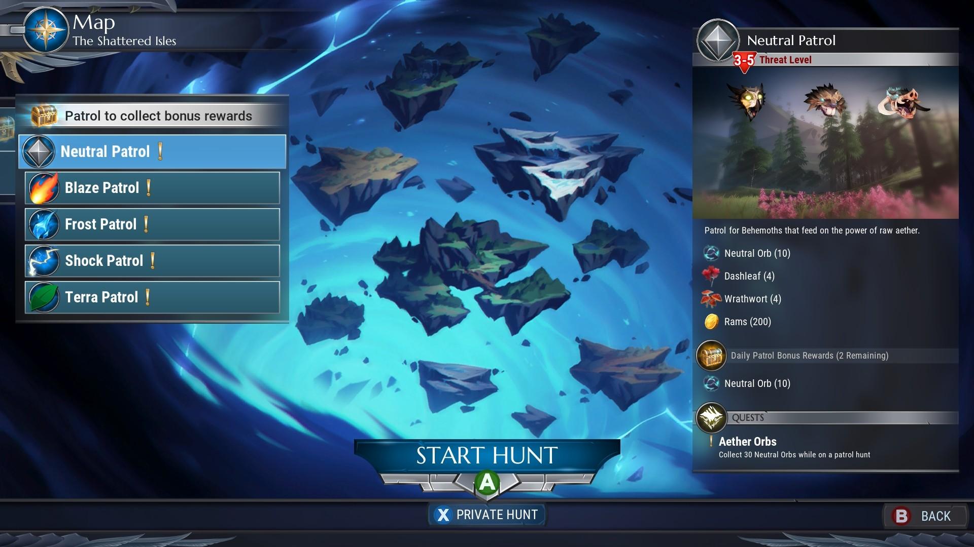 Dauntless element orb patrols